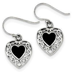 Slightly Antiqued Onyx Heart Earrings in Silver