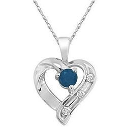 Sapphire and 3 Diamond 14K White Gold Heart Pendant