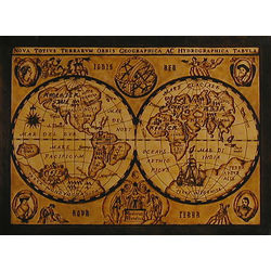 Antique Globes 1635 Leather Map in Natural with Rods