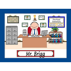 Personalized School Principal Cartoon Matted Print
