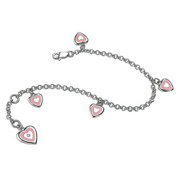 Diamond Resin Heart Charm Silver Children's Bracelet