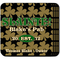 Personalized Field of Clover Coaster Set