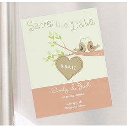 Personalized Love Birds Save The Date Magnet