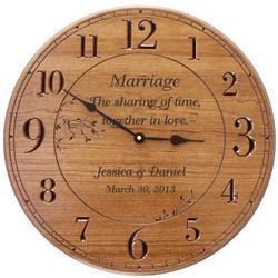 Large Round Cherry Finish Personalized Wall Clock