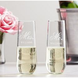 Personalized Mr. and Mrs. Stemless Champagne Toasting Flutes