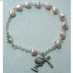 First Communion Pink Heart Sterling Rosary Charm Bracelet