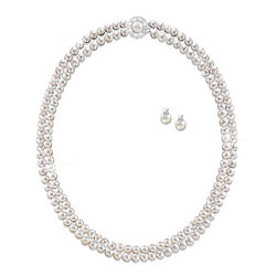Royal Treasure Simulated Pearl Necklace and Earrings