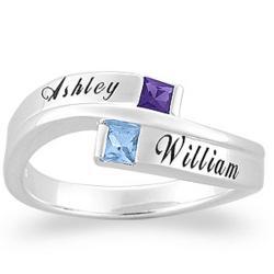 10K White Couples Square Birthstone Name Ring