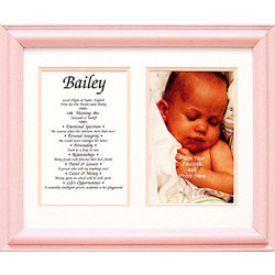Personalized First Name Framed Print in Pink