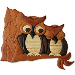 Owls in Love Pine and Cedar Wall Panel