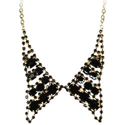 Pointed Black Bow Tie Collar Necklace