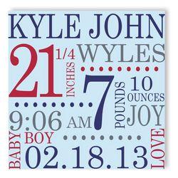 All Star Canvas Baby Boy Birth Announcement