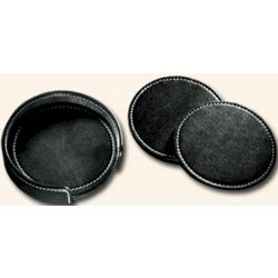 Deluxe Leather Coaster Set