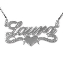 Silver Middle Heart Name Necklace