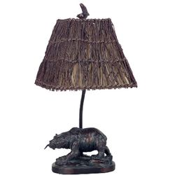 Bear Accent Lamp with Wicker Shade