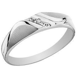 10K White Gold Diamond Men's Wedding Band