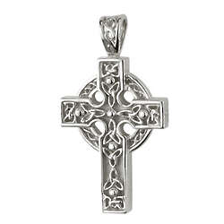 Sterling Silver Celtic Cross Trinity Knot Pendant Necklace