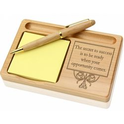 Success and Opportunity Wooden Notepad & Pen Holder