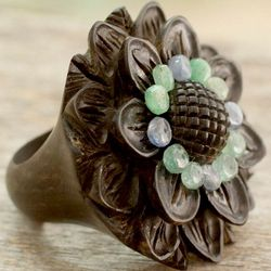 Jaipur Sunflower Emerald and Ebony Ring