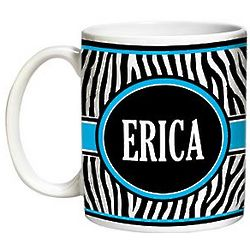 Personalized Blue Zebra Print Mug
