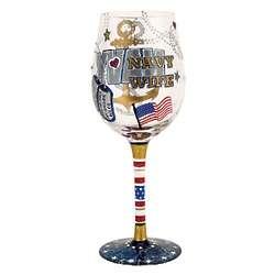 Handpainted Navy Wife Wine Glass