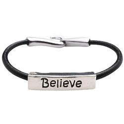 Believe Inspirational Leather Bracelet