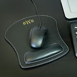 Monogrammed Leather Mouse Pad with Wrist Rest