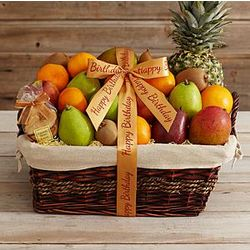 Ultimate Organic Fruit Gift Basket with Happy Birthday Ribbon
