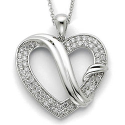Forever Grateful Sterling Silver Heart Necklace with Poem Card