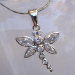 Dragonfly CZ Sterling Silver Necklace