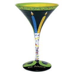 50 & Fabulous Hand Painted Martini Glass