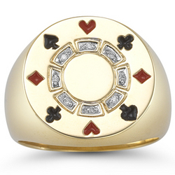 Diamond Poker Chip Ring in 14K Yellow Gold