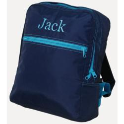 Large Navy/Aqua Nylon Personalized Backpack