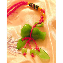 Chinese Feng Shui Hand Carved Good Health Jade Luck Charm