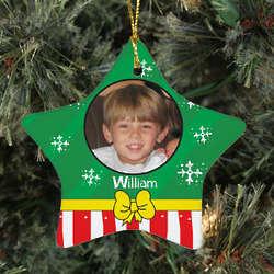 Personalized Photo Ceramic Christmas Present Star Ornament