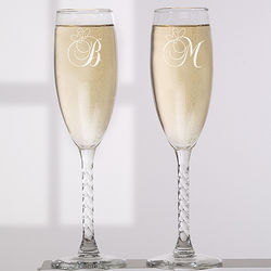 Personalized Champagne Flute Set with Initials