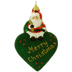 Merry Christmas Blown Glass Christmas Ornament