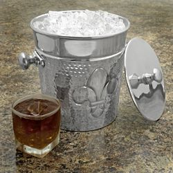 Fleur de Lis Hammered Ice Bucket with Lid