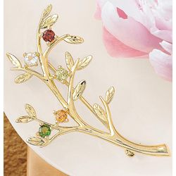 Gold Family Tree Birthstone Brooch