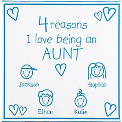Light Blue Personalized Reasons I Love 11x11 Canvas