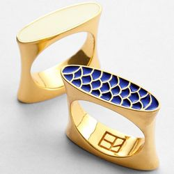 Solid Ivory and Navy Fishscale Enamel Cocktail Ring