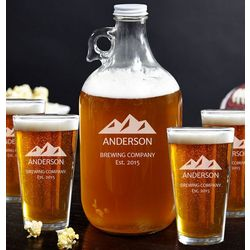 Rocky Mountains Growler and Beer Glass Set