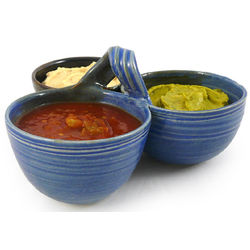 Handcrafted 3-Bowl Condiment Serving Dish