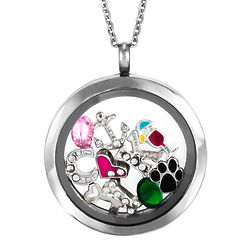 Round Build-a-Charm Glass Floating Stainless Steel Locket