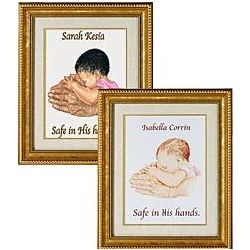 Personalized Baby Girl Safe In His Hands Print