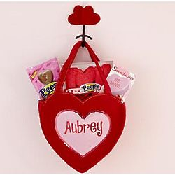 Personalized Bling Heart Basket with Candy