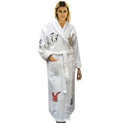 Women's Cat Appliqued Terry Cloth Bathrobe