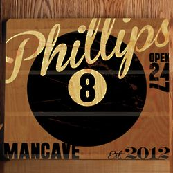 Lucky 8-Ball Personalized Wood Bar and Billiard Sign