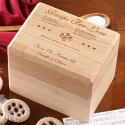 Recipe for Love Wood Personalized Bamboo Recipe Box