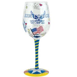 Handpainted Air Force Wife Wine Glass